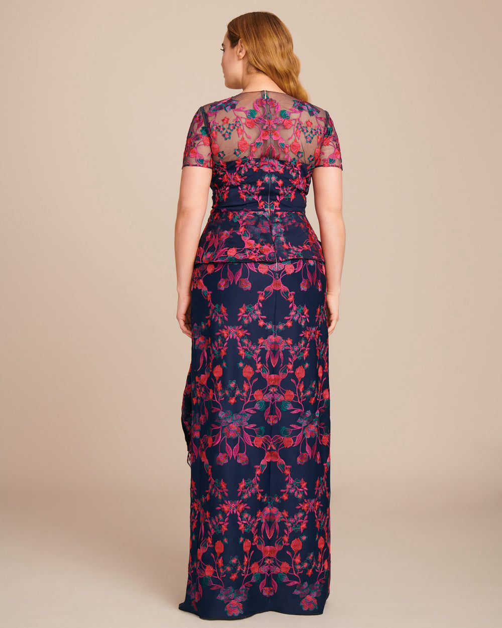 Embroidered Column Gown with Peplum