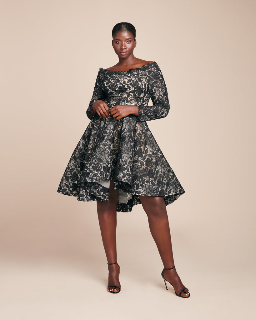High-Low Flared Long Sleeve Cocktail Dress