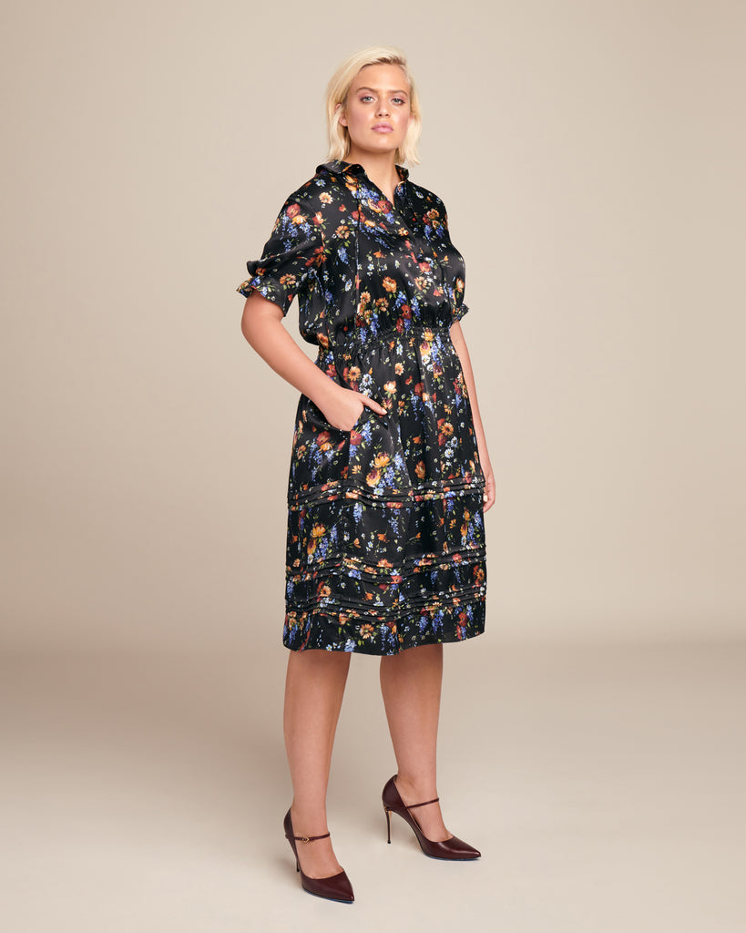 Floral Hammered Silk Rouched Sleeve Dress