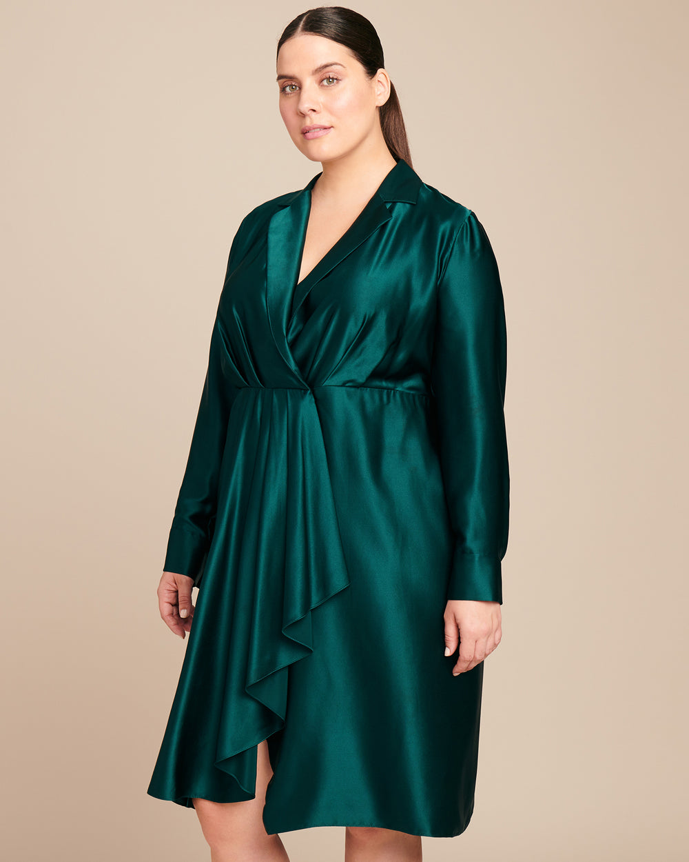 Silk Charmeuse Collar Day Dress