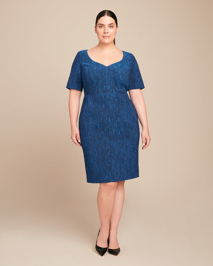 Stretch Cloque Jacquard Dress