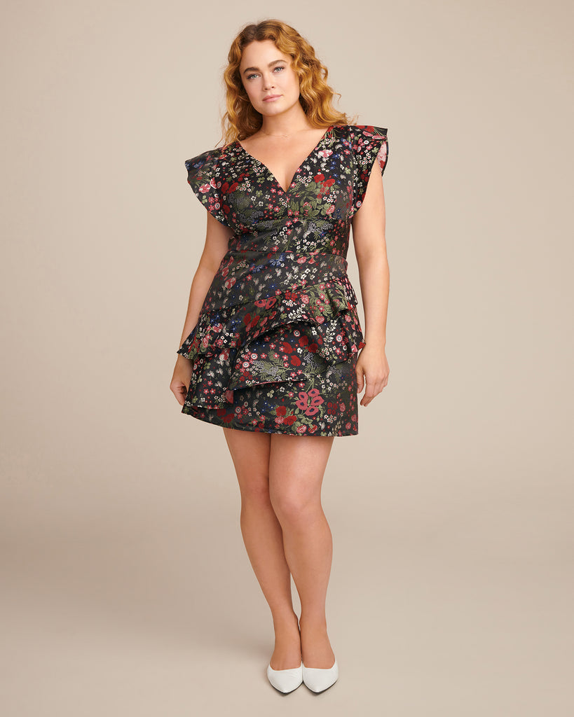 Jacquard Cocktail Dress with Ruffle Skirt
