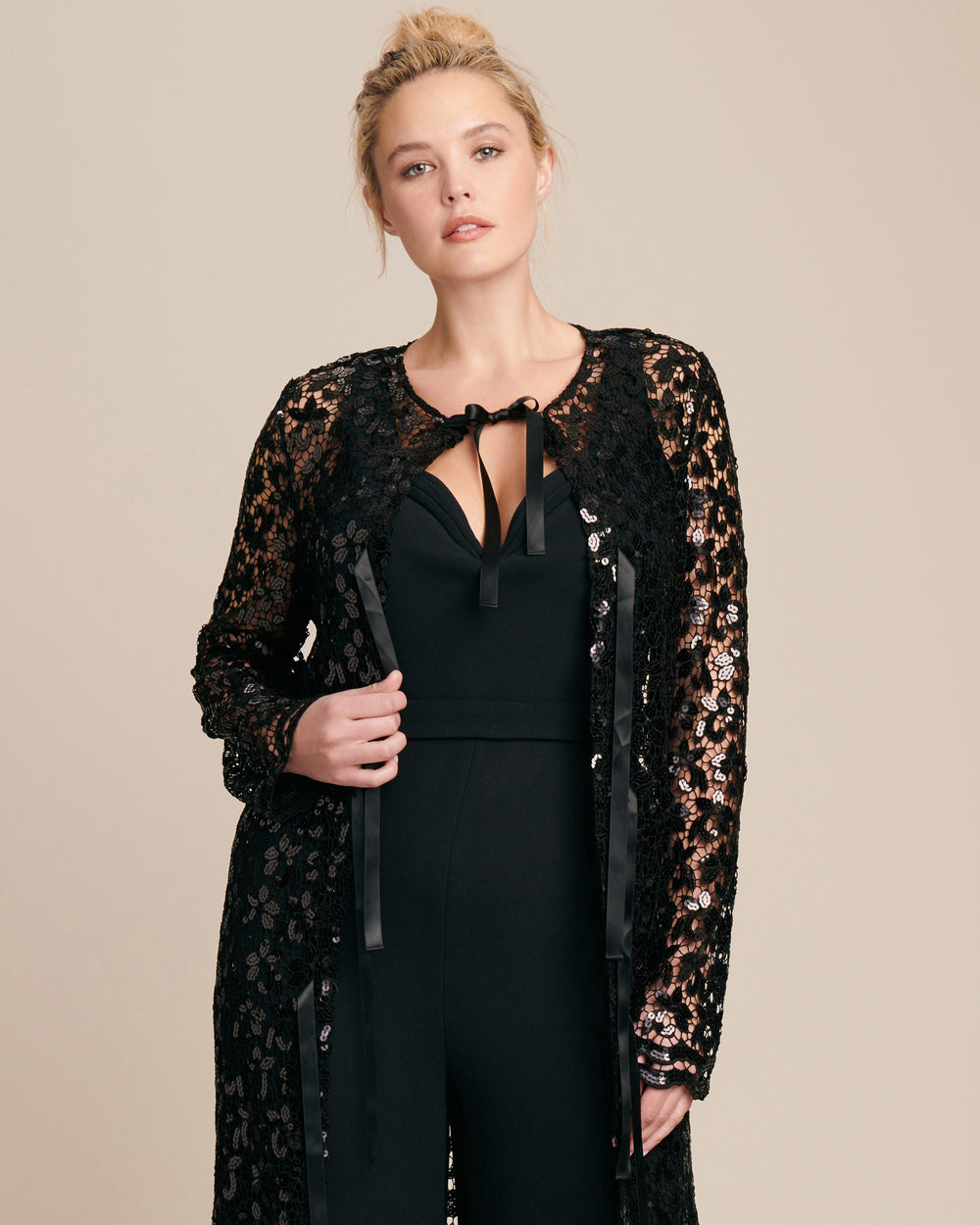 Black Sequined Lace Cardigan