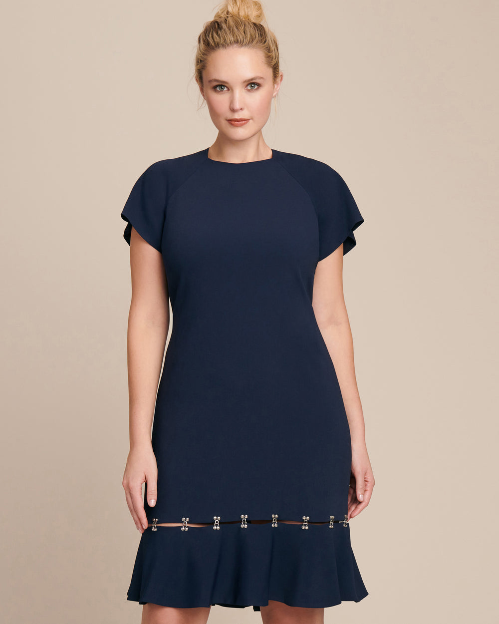 Exclusive Metal Studded Crepe Tee Dress