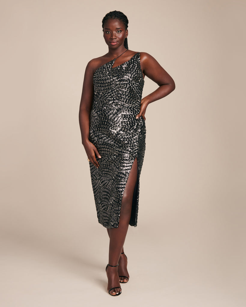 Black & Silver Sequin Zig Zag Dress