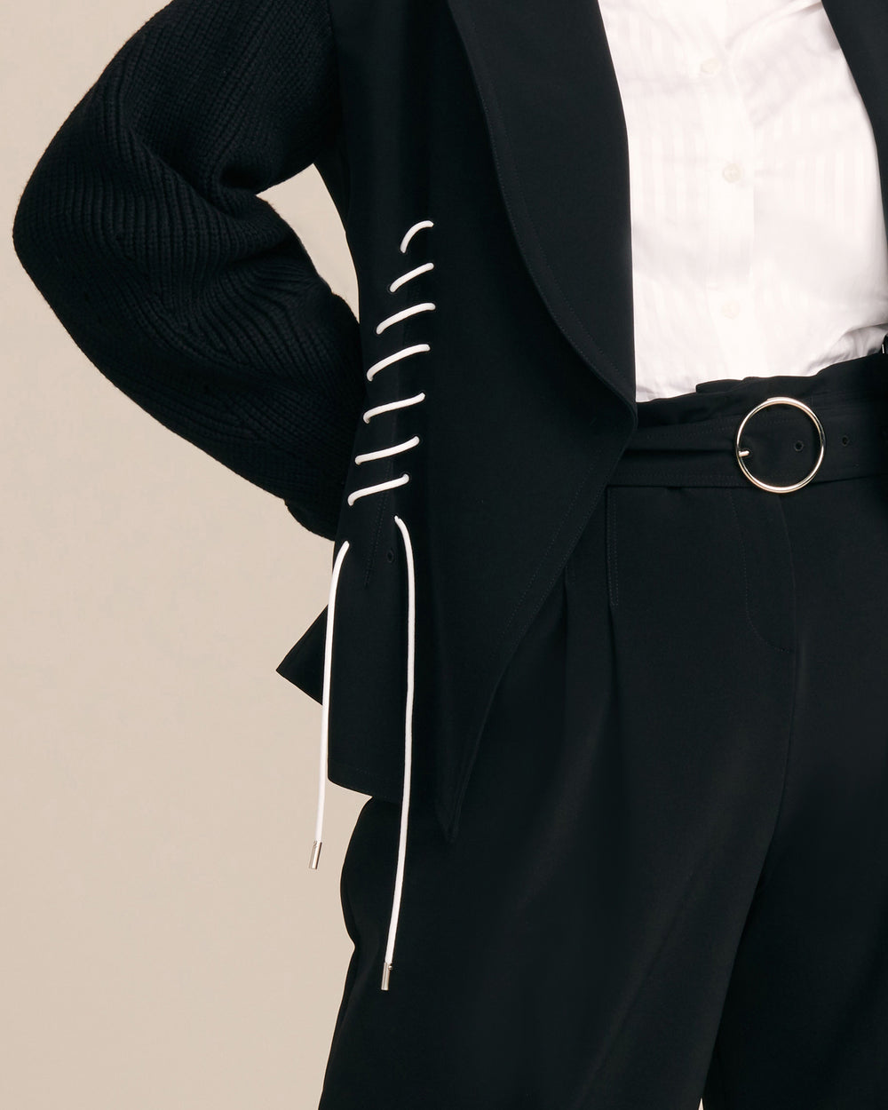 Button Blazer With Knit Sleeves & Lacing Detail
