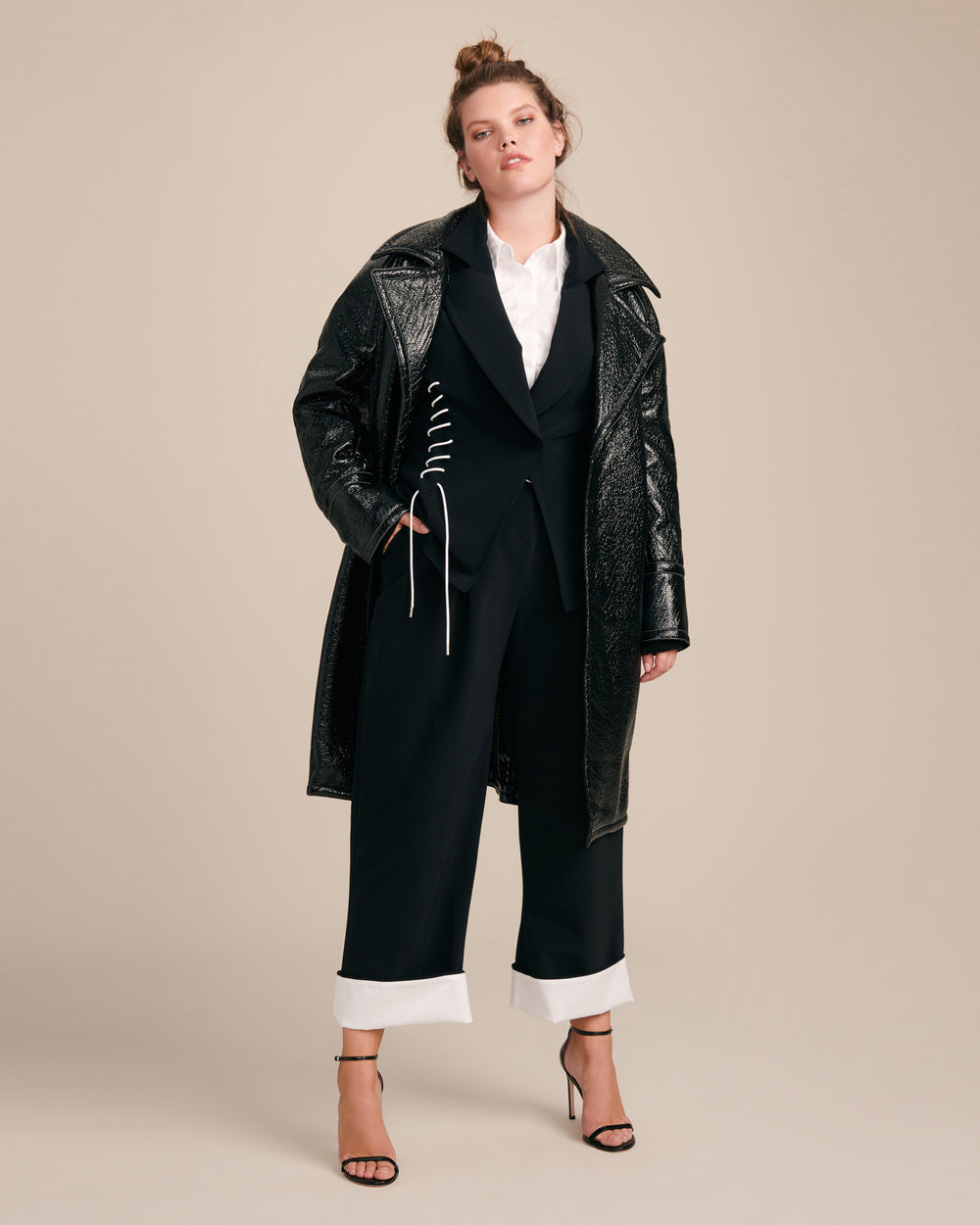 Oversized Laminated Texture Coat