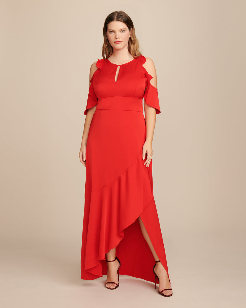 Crepe Dress with Ruffle Skirt and Front Opening