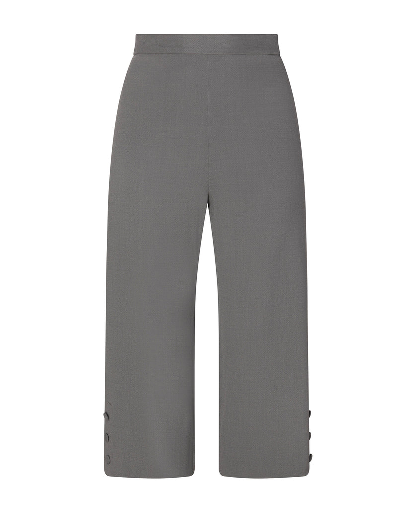 Wide Leg Cropped Button Pant