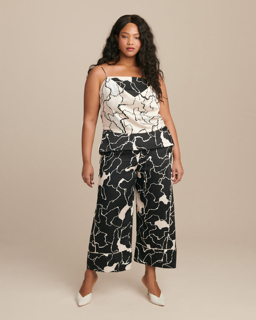 Terrazzo Printed Draped Front Camisole