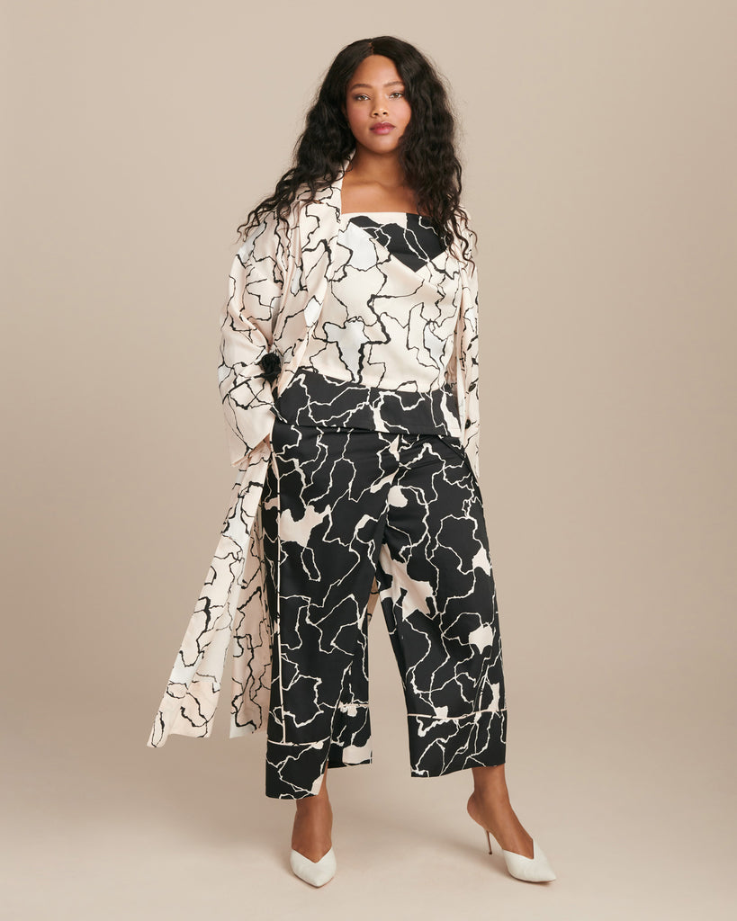 Ocean Crest Printed Twill Elastic-Waisted Pant