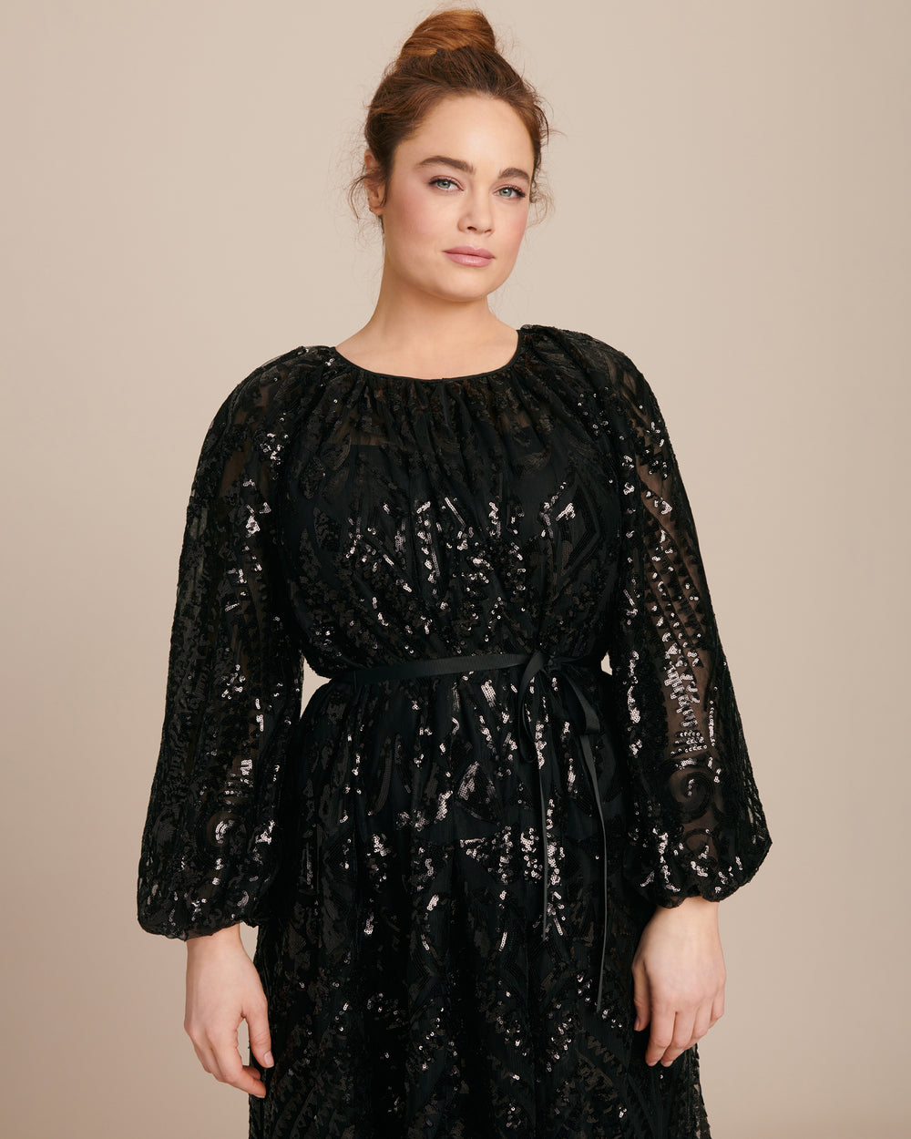 Luna Embroidered Tie Front Gown