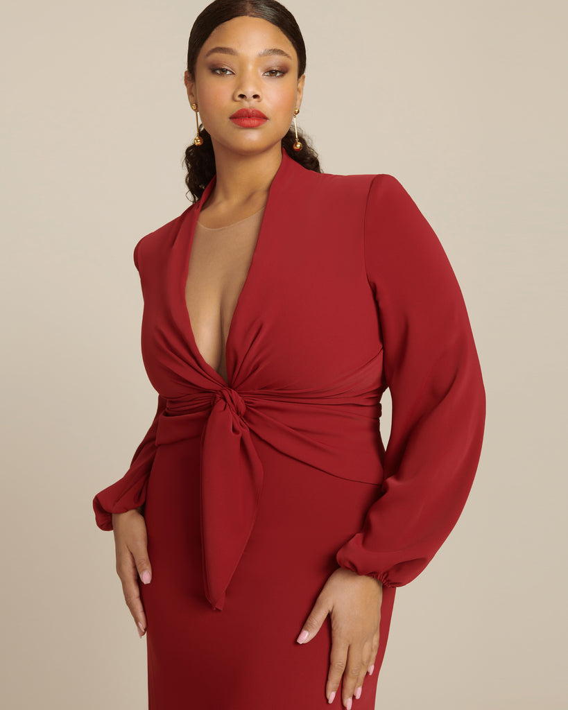 Crepe Draped Gown with Long Sleeves