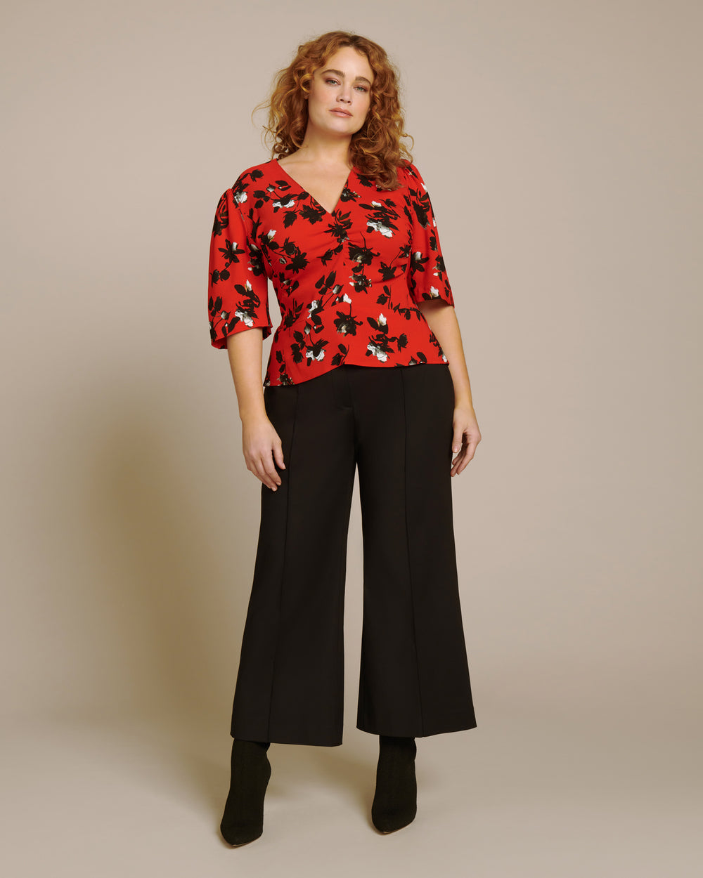 Cropped Flare Trouser with Pintuck