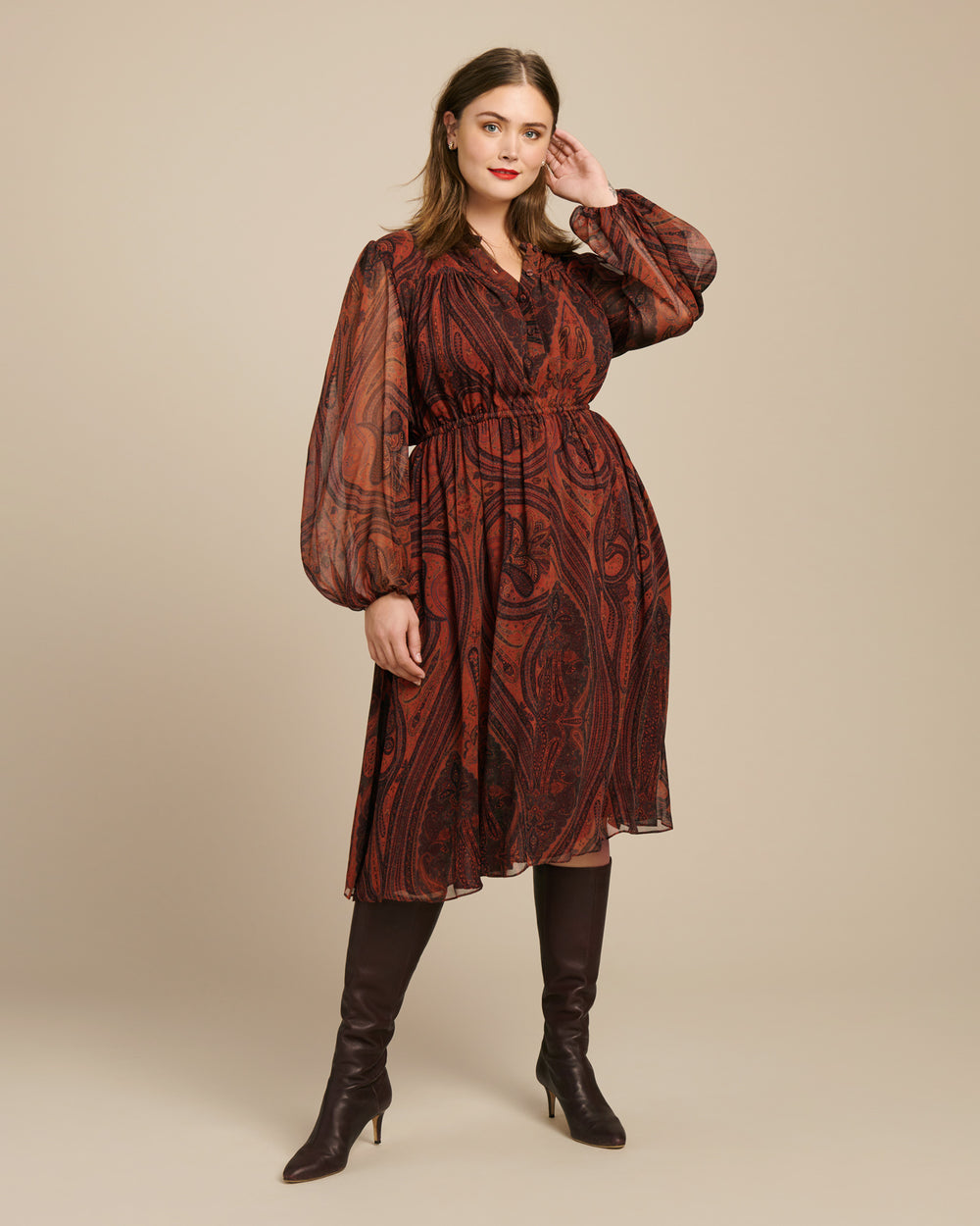 Printed Chiffon Long Sleeve Dress