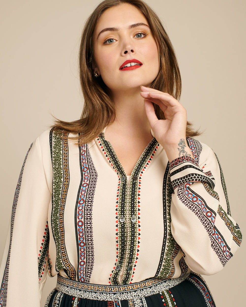 Printed Klara Blouse with Button Detail