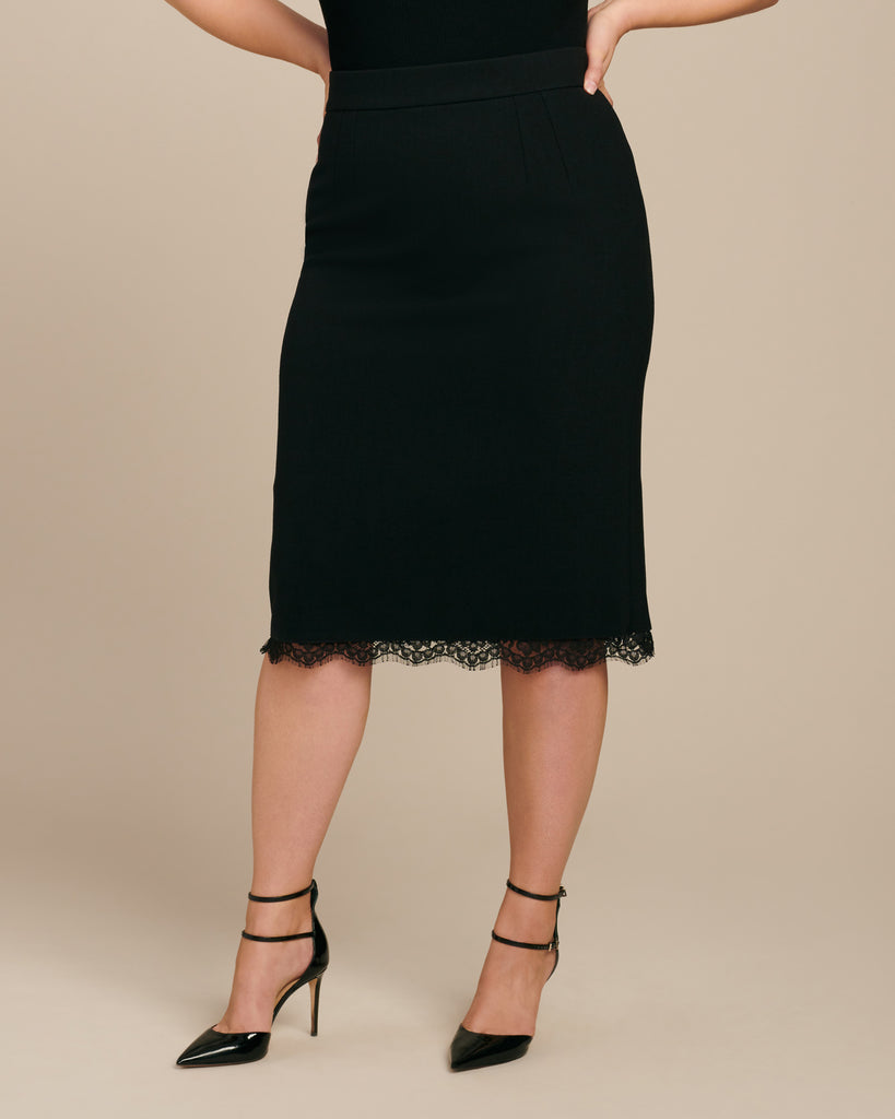 Black Skirt with Lace Hem