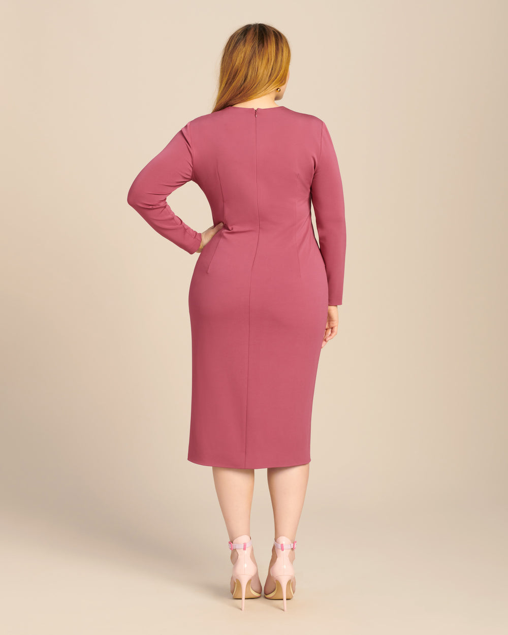 Long Sleeved Plunging Dress with Twist Detail