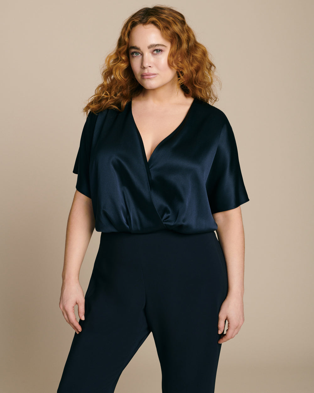 Short Sleeved Blouson Overlay Bodysuit