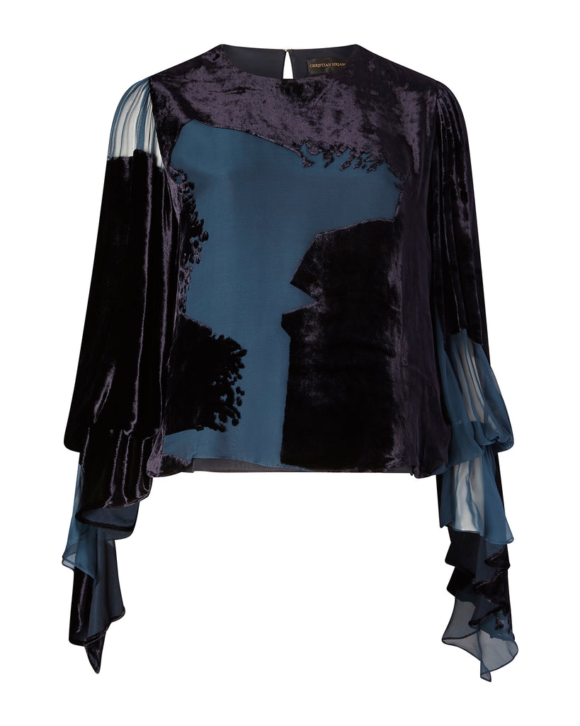 Burnout Velvet Tie Sleeve Blouse