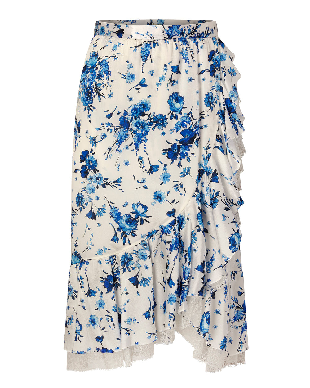 Floral Hammered Silk Skirt