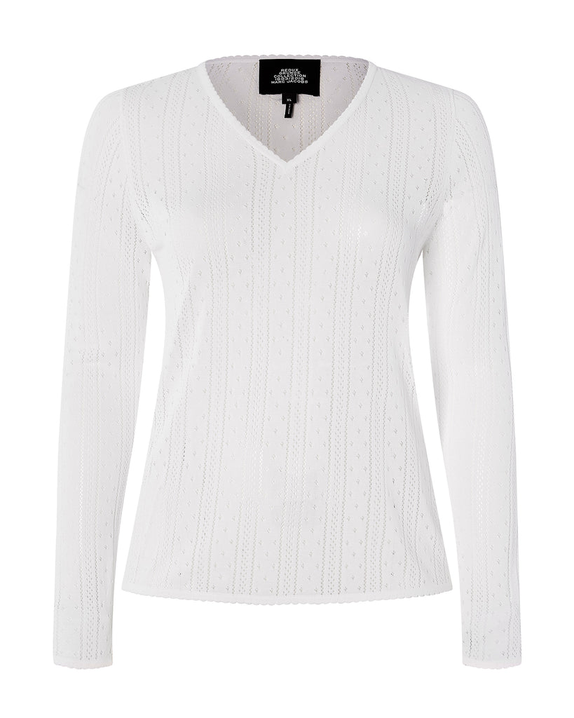 Long Sleeve Pointelle V-Neck
