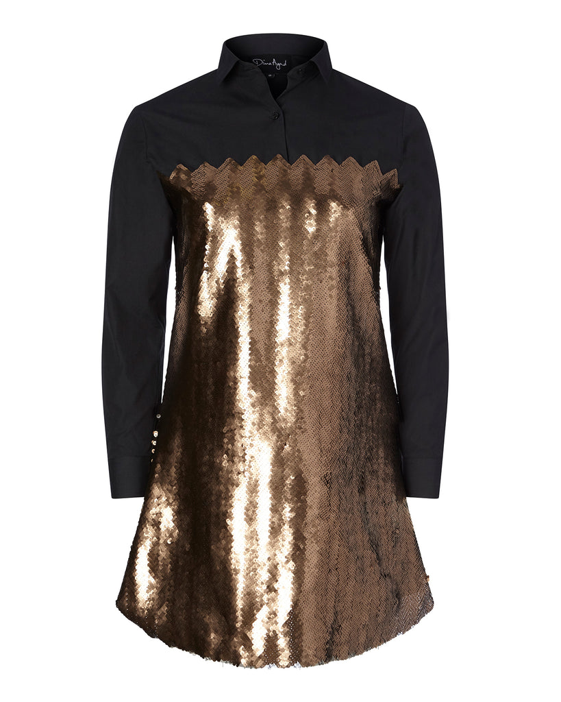 Shirt Dress with Chevron Sequins