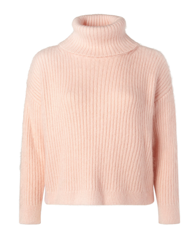 Oversized Ribbed Mohair Cropped Turtleneck