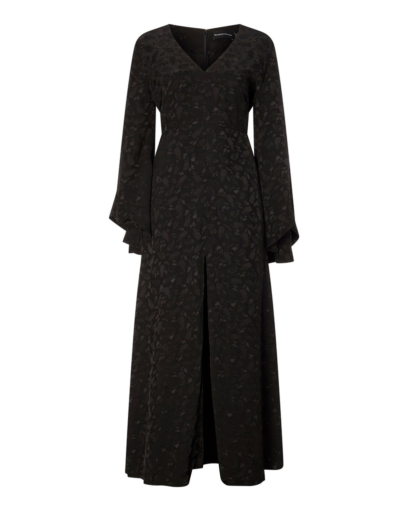 Jacquard Flare Sleeve V-Neck Gown