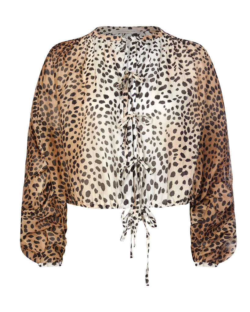Cheetah Poplin Blouse