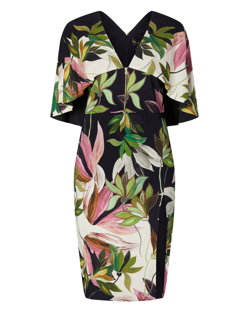 Hawaiian Print Capelet Dress