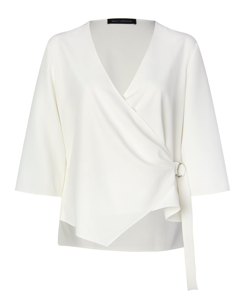 Matte Crepe Asymmetrical Wrap Top