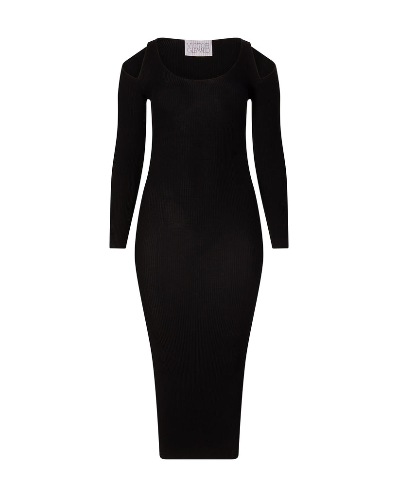 Ribbed Long Sleeve Gown with Shoulder Cut Out