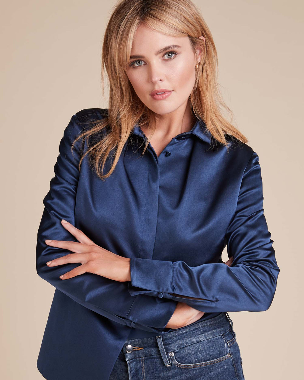Rolled Collar Satin Shirt
