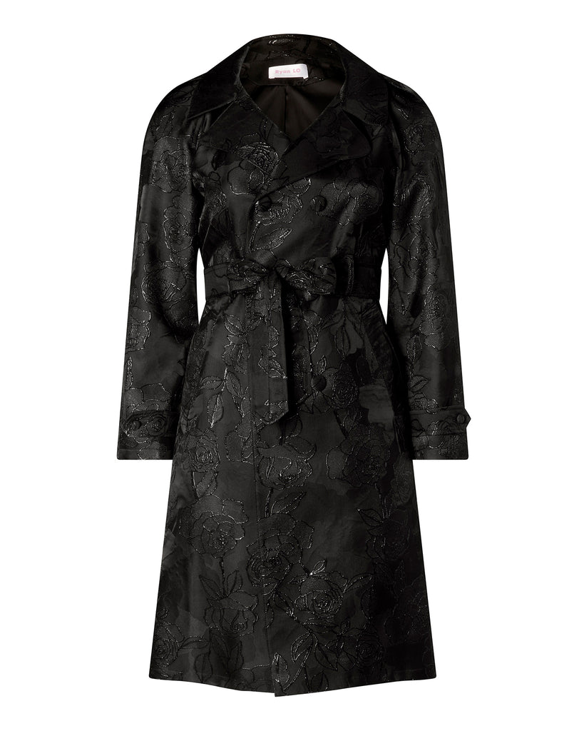 Rose Jacquard Trench Coat