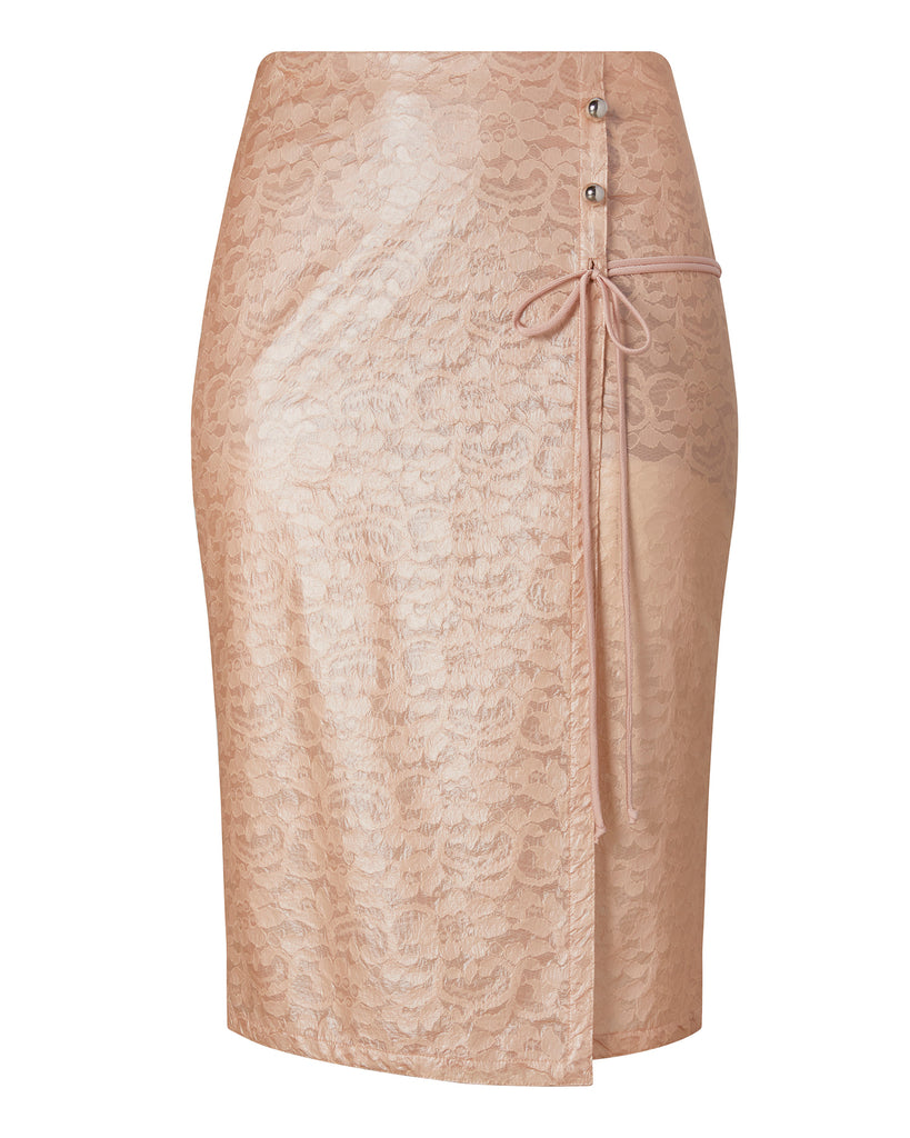 Laminated Lace Wrap Skirt