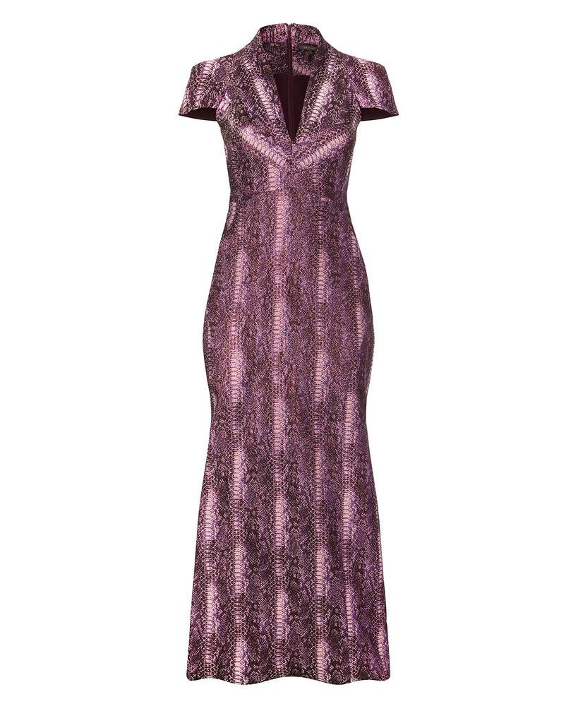 Metallic Party Jacquard Gown
