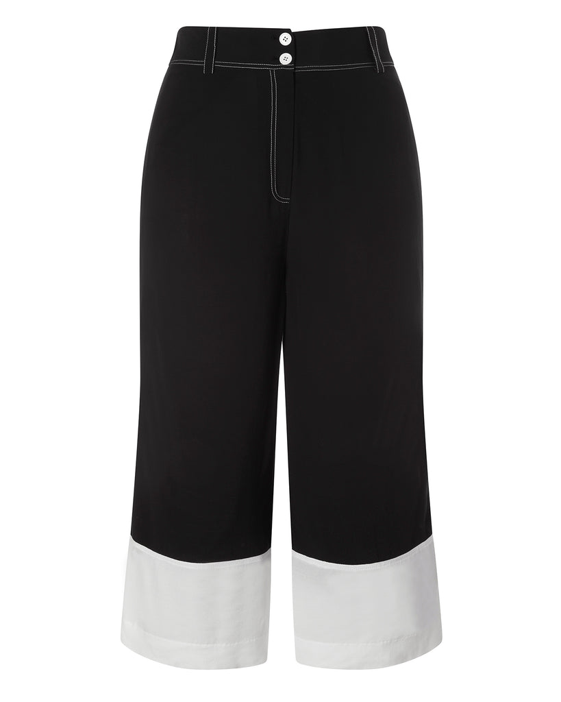 Wide Leg Culotte with Contrast Cuff