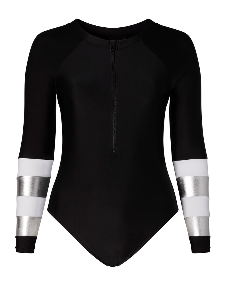 Black Surf Suit with Metallic Cuffs