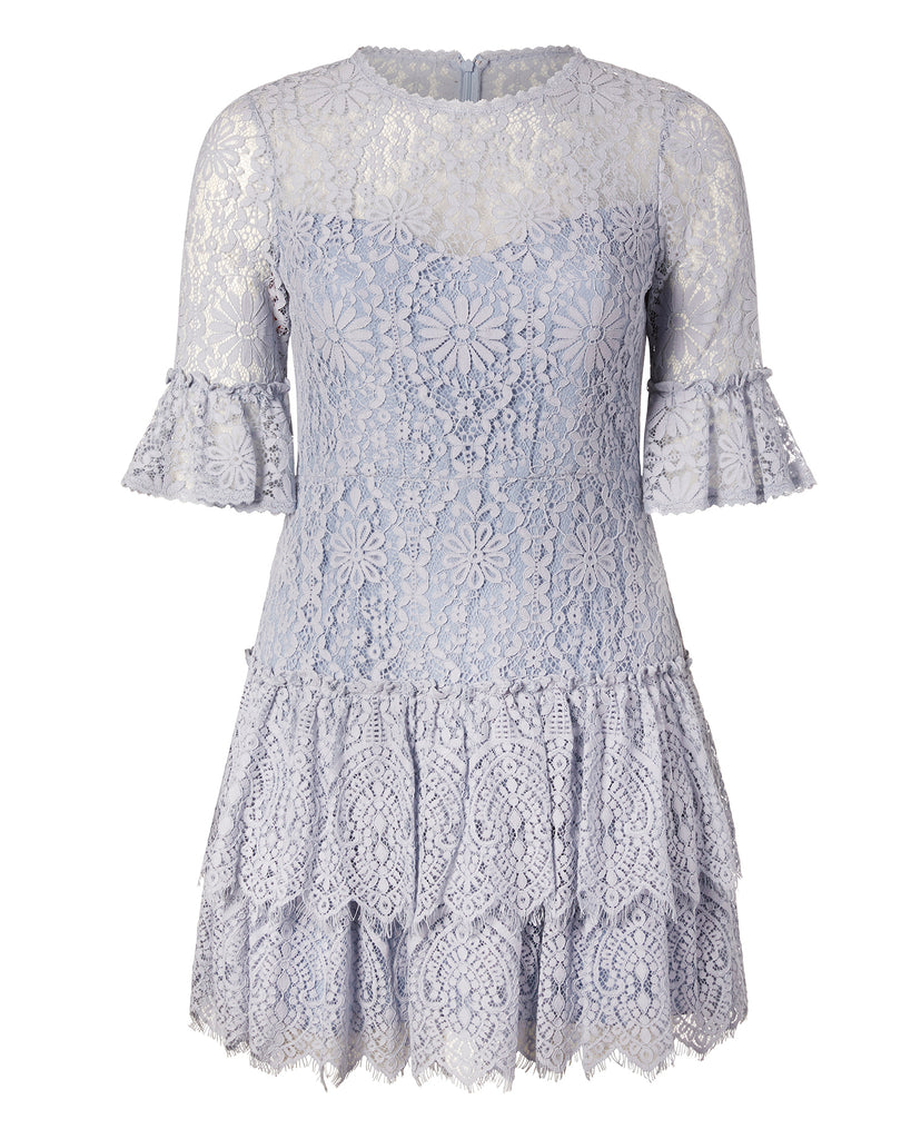 Corded Floral Lace Cocktail Dress