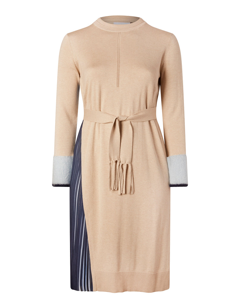 Silk Cashmere Pull Over Dress with Pleat