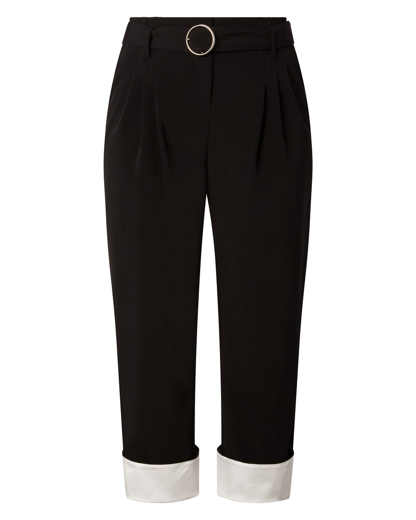 High-Waisted Double Pleated Pants with Belt
