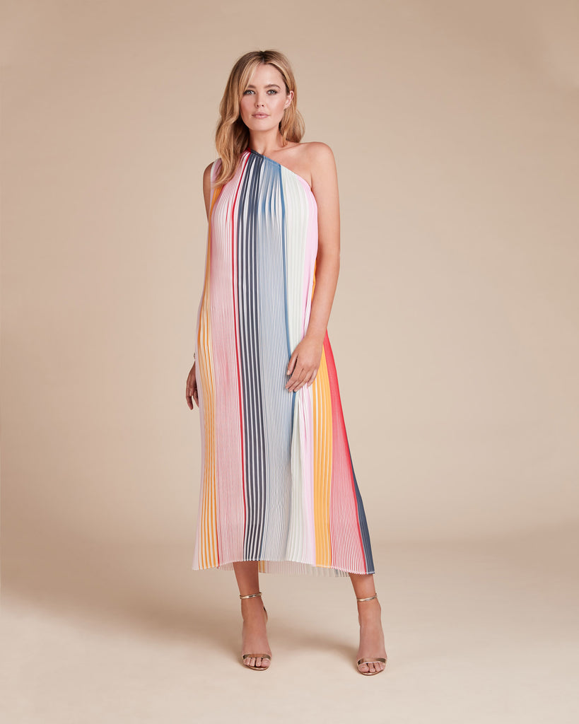 Pleated One Shoulder Kaftan Dress