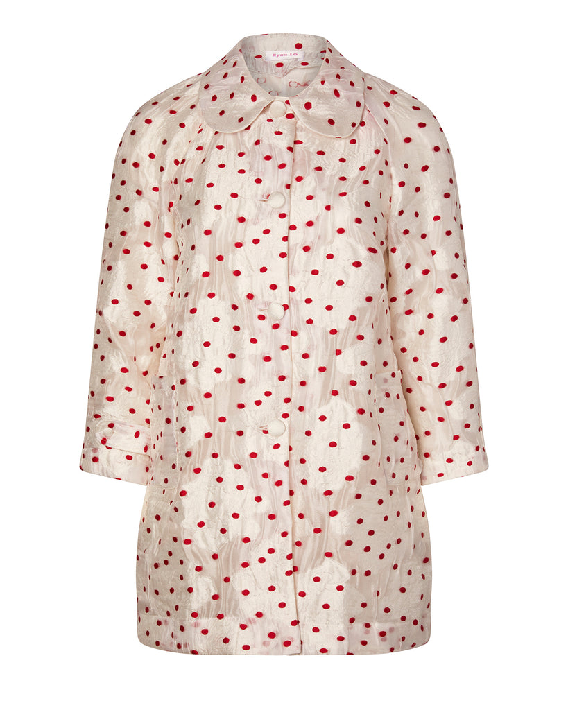 Polka Dot Round Collar Coat