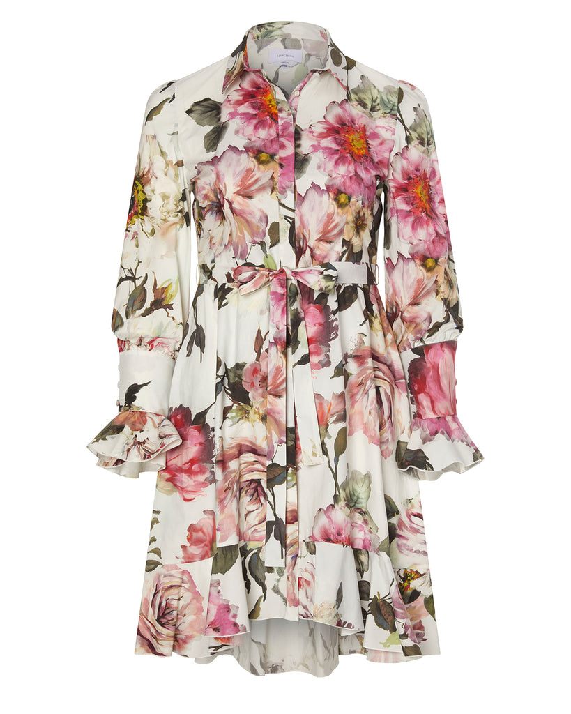 Button Front Printed Shirtdress