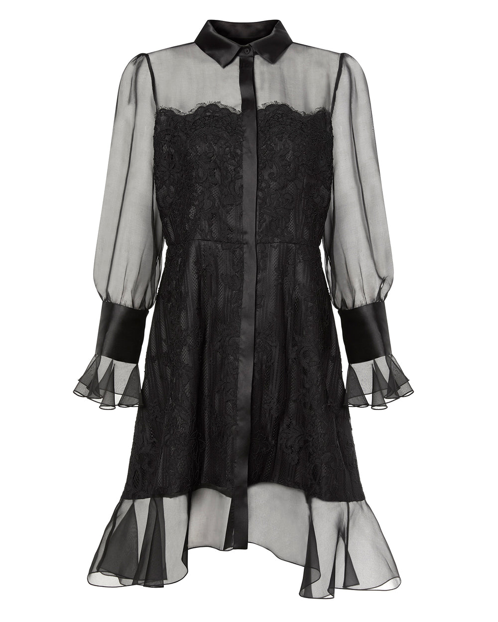 Button Front Lace Shirtdress