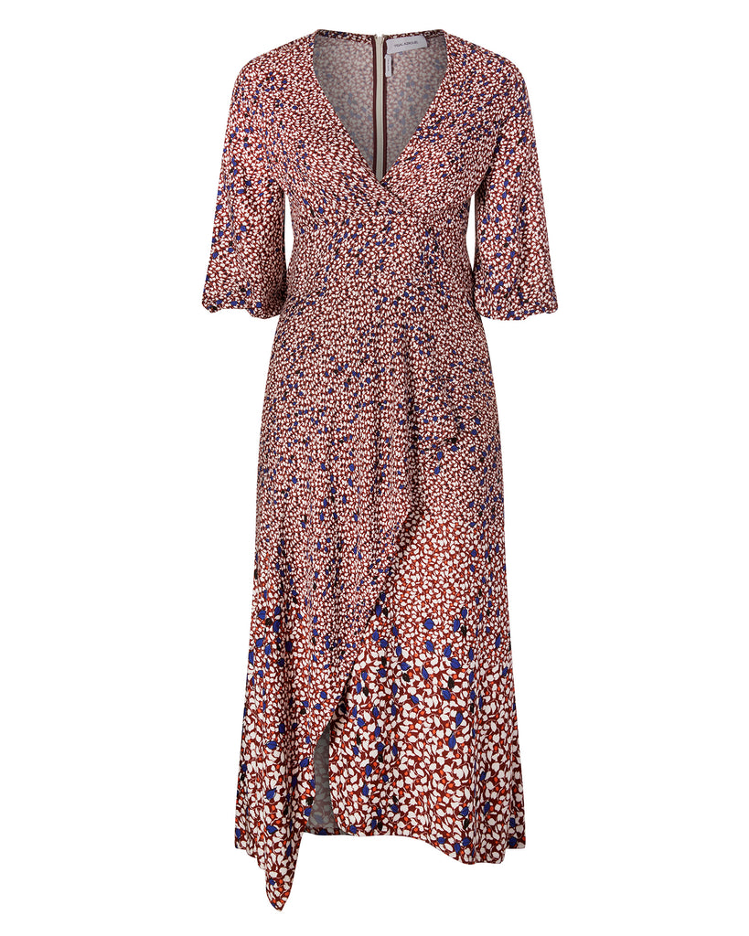 Falling Leaf Printed Twill V-Neck Dress