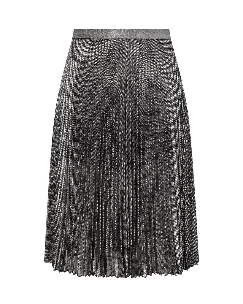 Pleated Lamé Mesh Skirt
