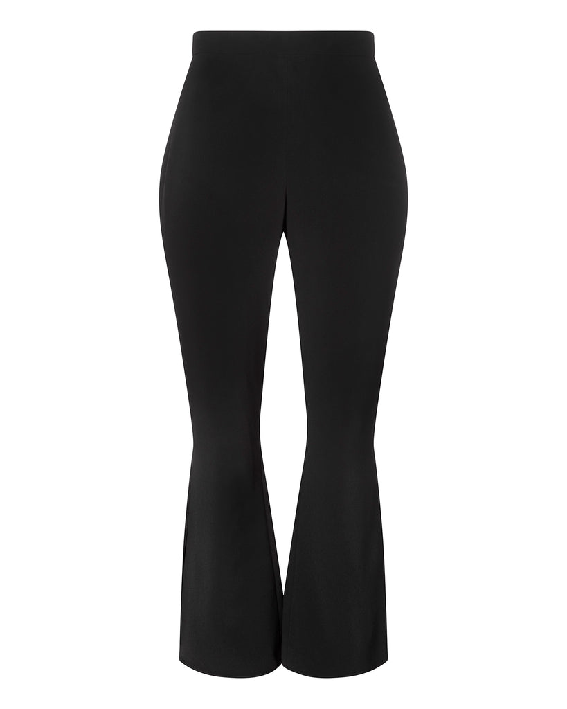 High Waisted Slightly Flared Pant with Slit at Hem