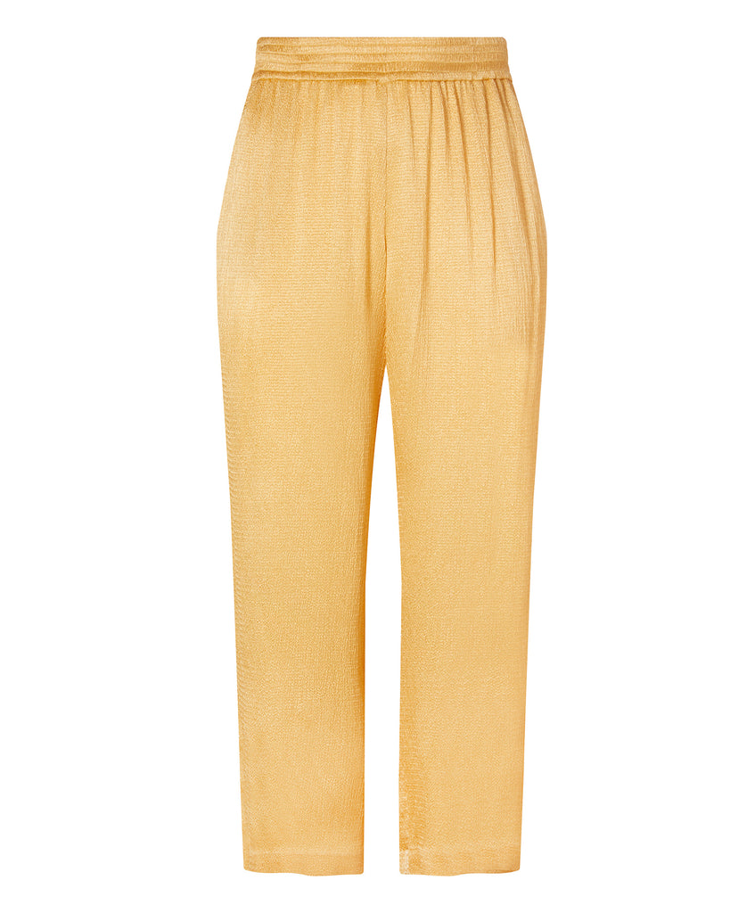 Smocked Satin Wide Leg Track Pant